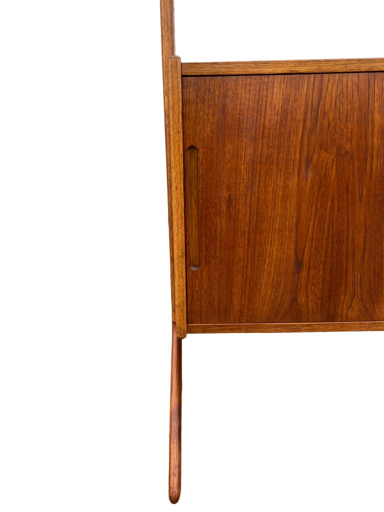 Midcentury Danish Modern Freestanding Teak Wall unit Jutex by Hovmand Olsenc For Sale 5