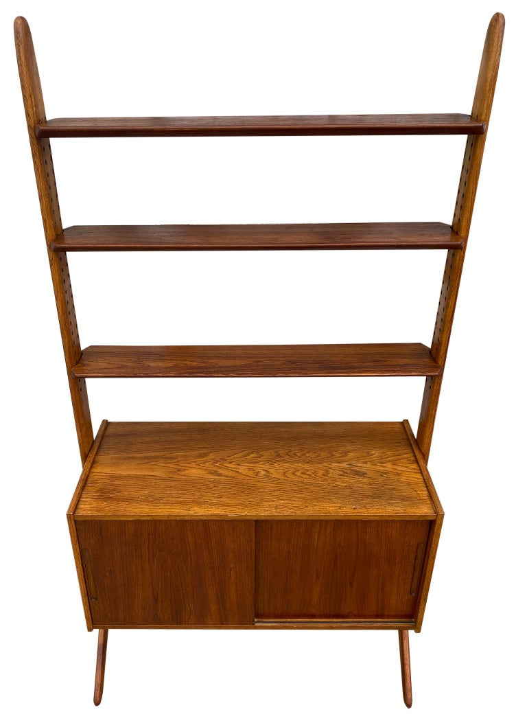 Mid-Century Modern Midcentury Danish Modern Freestanding Teak Wall unit Jutex by Hovmand Olsenc For Sale