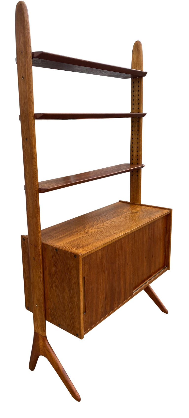 Midcentury Danish Modern Freestanding Teak Wall unit Jutex by Hovmand Olsenc In Good Condition For Sale In BROOKLYN, NY
