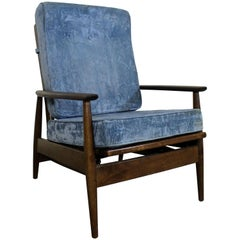 Mid-Century Danish Modern High Back Rocker Walnut Lounge Chair