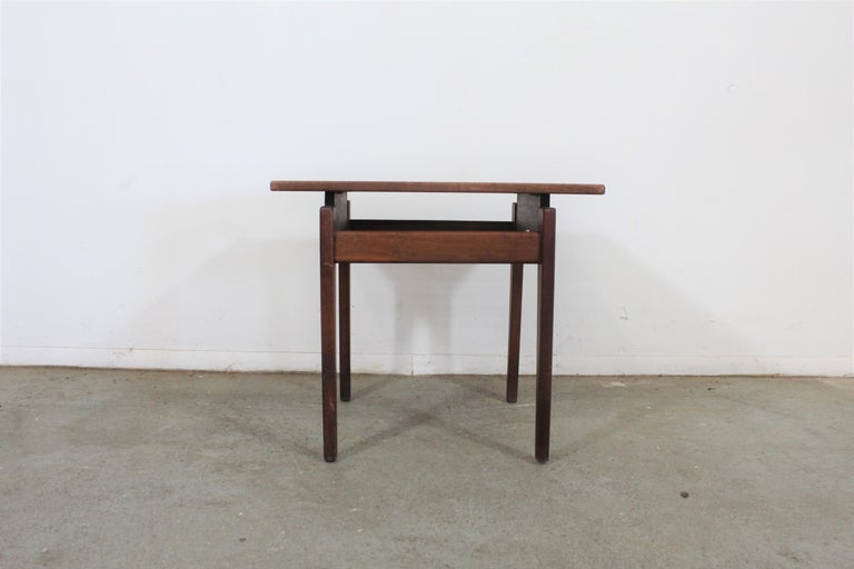 Jens Risom Mid-Century Danish modern walnut bench end/side table  Offered is a midcentury Danish modern walnut end table by Jens Risom. It is in good condition with some age wear (minor surface scratches, structurally sound). A great set to add to