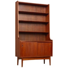 Midcentury Danish Modern Johannes Sorth Tall Wood Bookcase Bookshelf, 1960s