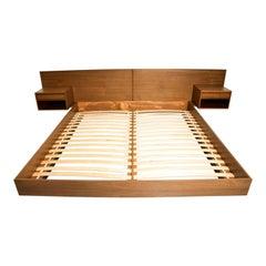 Midcentury Danish Modern King Walnut Platform Pablex Bed Floating Nightstands