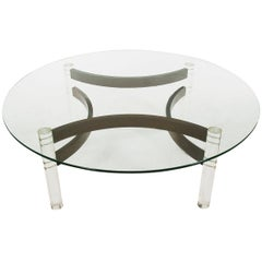 Midcentury Danish Modern Lucite, Bentwood and Glass Circular Cocktail Table
