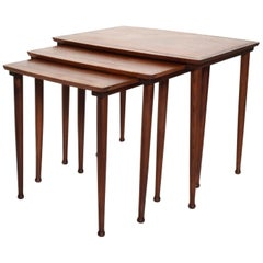 Midcentury Danish Modern Mobelintarsia Set of Teak Nesting Tables