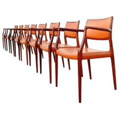 Midcentury Danish Modern Niels Otto Møller Model 65 Leather Armchairs, Set of 8