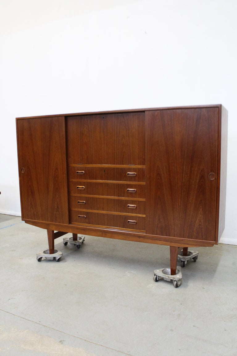 Scandinavian Modern Midcentury Danish Modern Omann Jun Teak Secretary Credenza Highboard For Sale