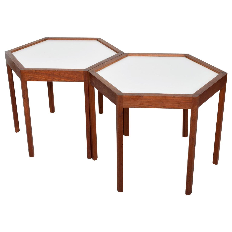 Midcentury Danish Modern Pair of Hexagon Side Tables Hans C. Andersen