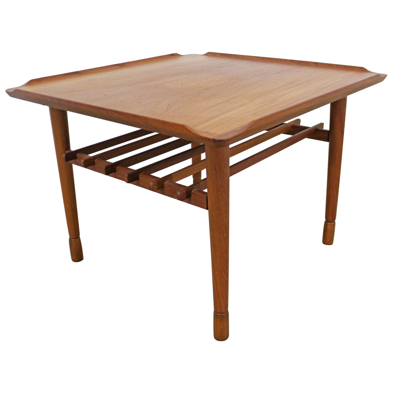 Midcentury Danish Modern Poul Jensen Selig Style Square End/Side Table