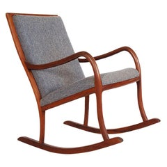 Mid-Century Danish Modern Rocking Lounge Chair in Walnut after Ole Wanscher