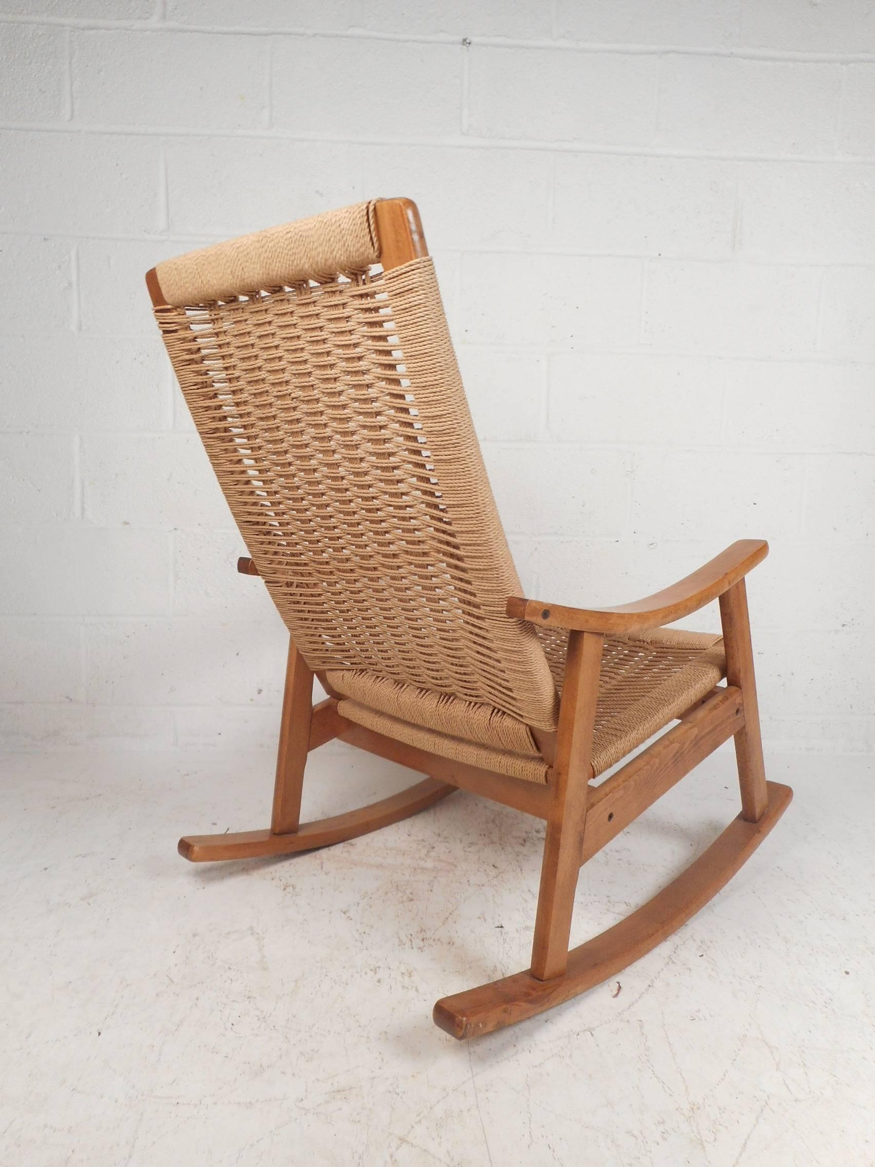 midcentury danish modern rope rocking chair in the style of hans rh 1stdibs co uk Rope Chain Chair Rope Swing