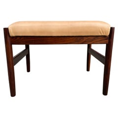 Mid Century Danish Modern Rosewood and Leather Small Stool Spottrup Mobler
