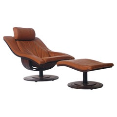 Mid-Century Danish Modern Rosewood & Leather Swivel Lounge Chair & Ottoman Set
