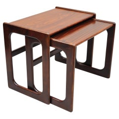 Mid Century Danish Modern Rosewood Nesting Side End Tables, Set of 2