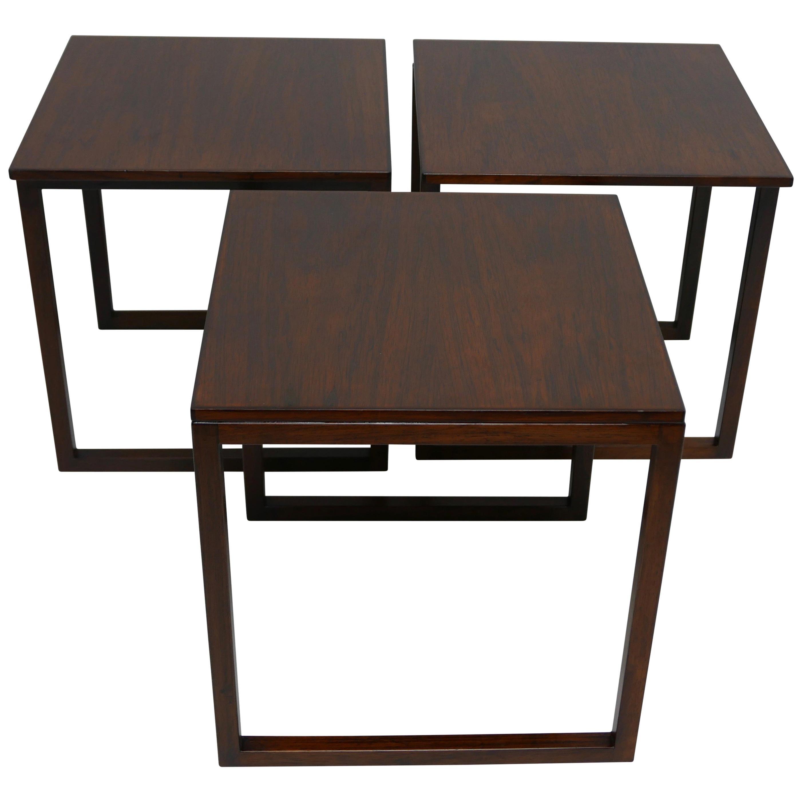 Midcentury Danish Modern Rosewood Nesting Tables, Set of Three