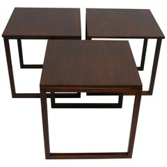 Midcentury Danish Modern Rosewood Nesting Tables, Set of Three