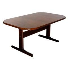 Mid-Century Danish Modern Rosewood Trestle Dining Table & 2 Leaves, 20th C