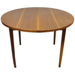 Mid-Century Danish Modern Round Teak Wood Dining Room Table with Two Leaves