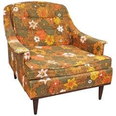 Midcentury Danish Modern Selig of Monroe Floral Lounge Chair