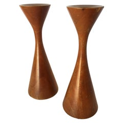 Mid-Century Danish Modern Short Teak Candlestick Holder by Rude Osolnik, Pair