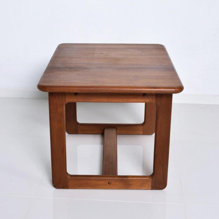 Scandinavian Modern Finn Juhl Fabulous Solid Teak Side Tables Classic Clean Modern Denmark 1980s For Sale