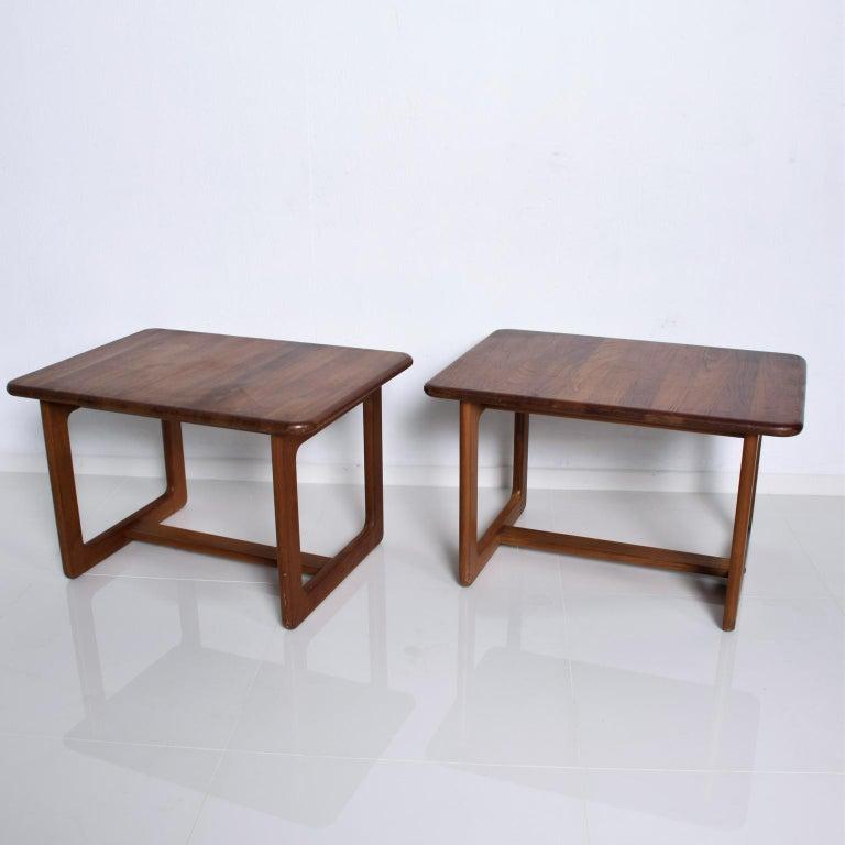 Late 20th Century Finn Juhl Fabulous Solid Teak Side Tables Classic Clean Modern Denmark 1980s For Sale