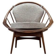 Mid Century Danish Modern Spindle Back Lounge Chair by IB Kofod Larsen in Walnut