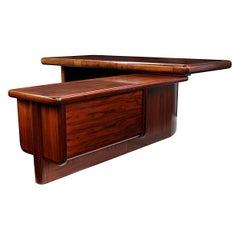 Midcentury Danish Modern Super Skyline Rosewood Executive Desk by Dyrlund