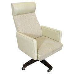 Midcentury Danish Modern Swivel Recline Office Armchair