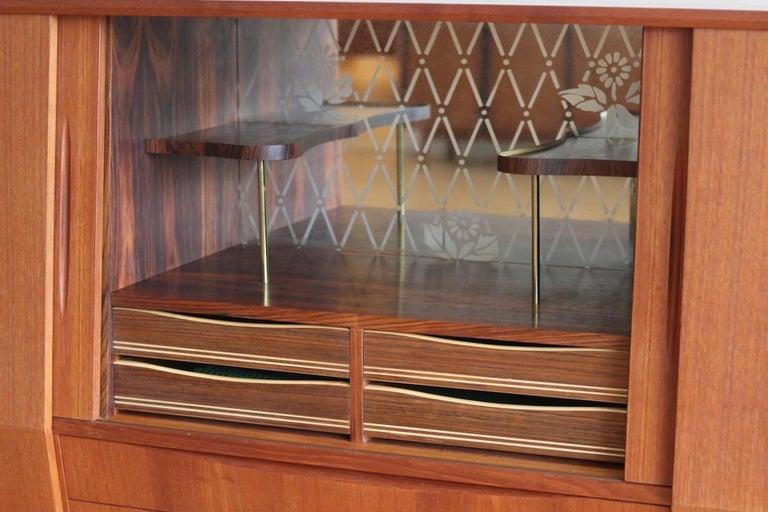 Midcentury Danish Modern Tall Sideboard Bar Cabinet For