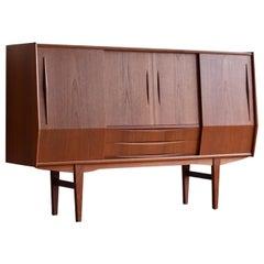 Midcentury Danish Modern Tall Sideboard Bar Cabinet