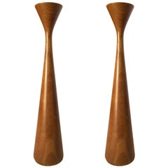 Mid-Century Danish Modern Tall Teak Candlestick Holder by Rude Osolnik, Pair