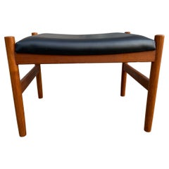 Mid Century Danish Modern Teak and Leather Small Stool Spottrup Mobler