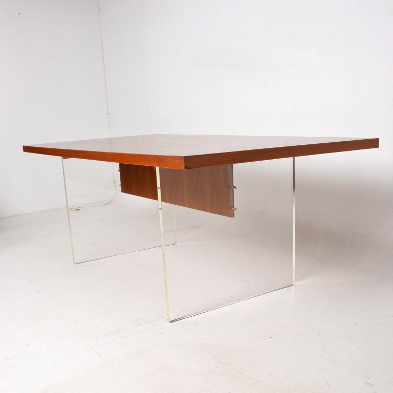 Unknown Mid-Century Danish Modern Teak and Lucite Dining Table For Sale
