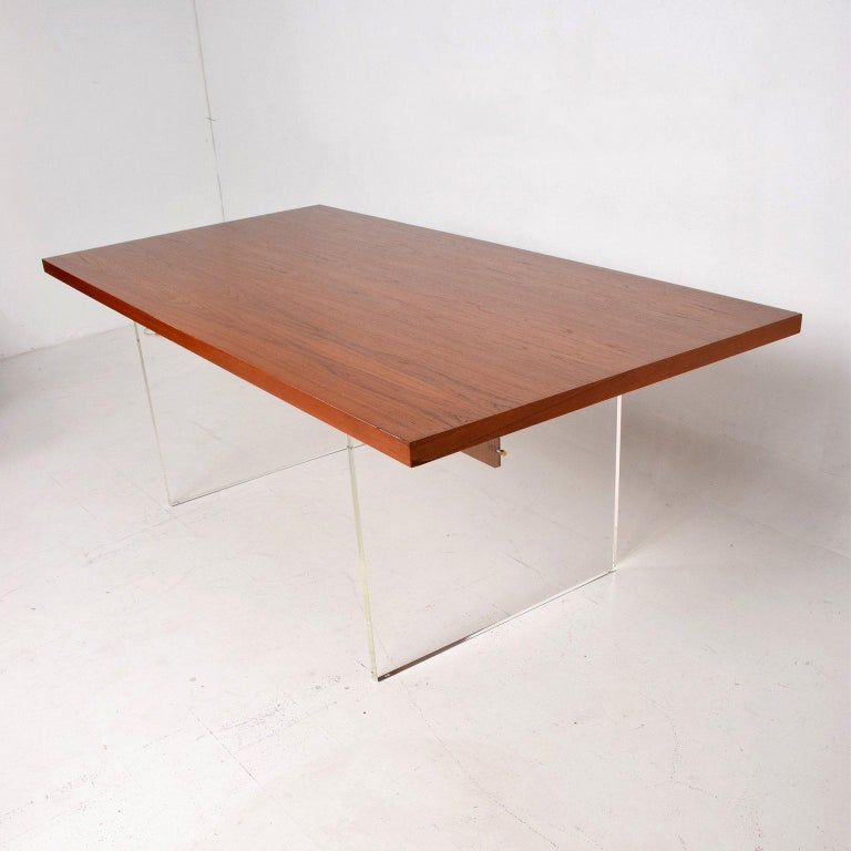 Mid-Century Danish Modern Teak and Lucite Dining Table In Good Condition For Sale In National City, CA