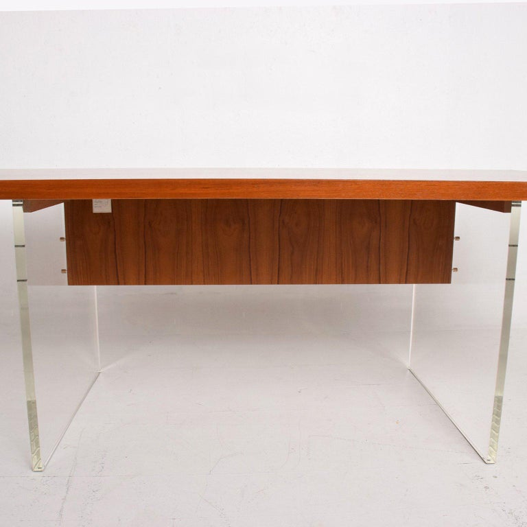 Late 20th Century Mid-Century Danish Modern Teak and Lucite Dining Table For Sale