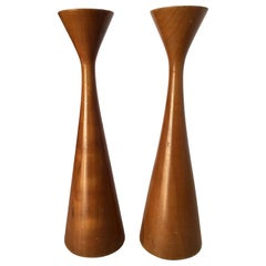Mid-Century Danish Modern Teak Candlestick Holder by Rude Osolnik, Pair
