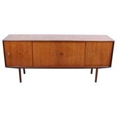 Mid-Century Danish Modern Sliding Door Teak Credenza on Pencil Legs