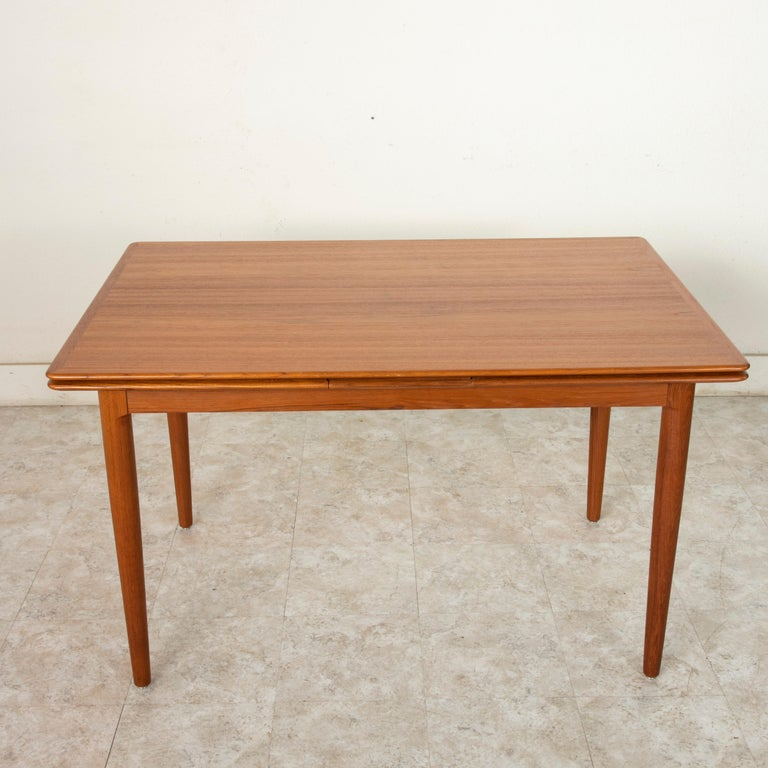 Mid-Century Modern Midcentury Danish Modern Teak Dining Table with Draw Leaves For Sale