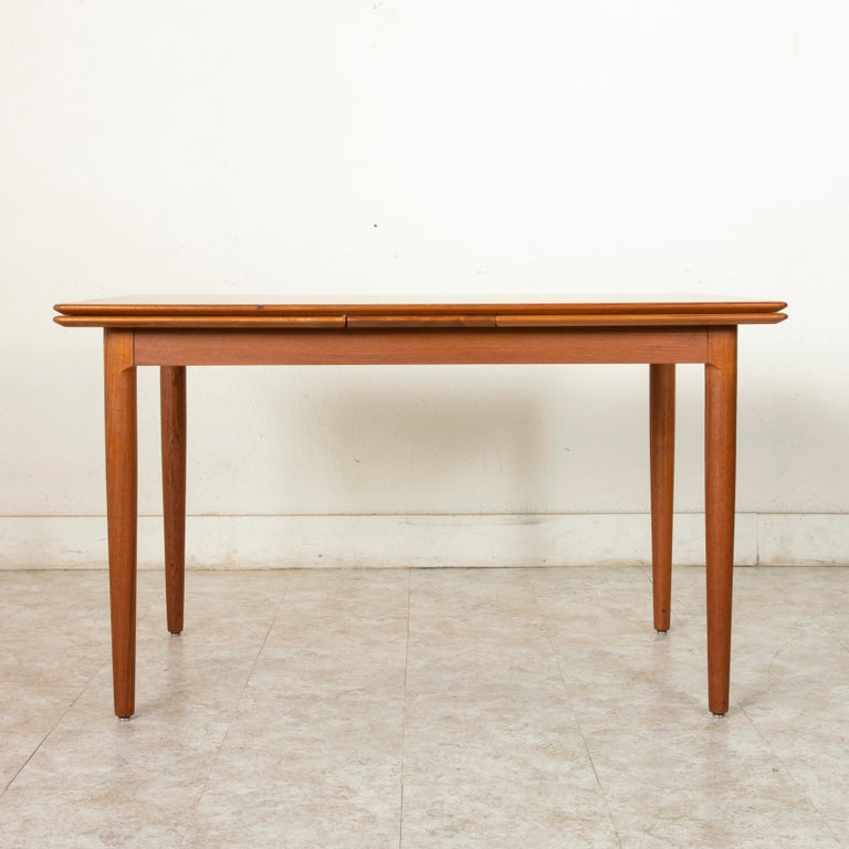20th Century Midcentury Danish Modern Teak Dining Table with Draw Leaves For Sale