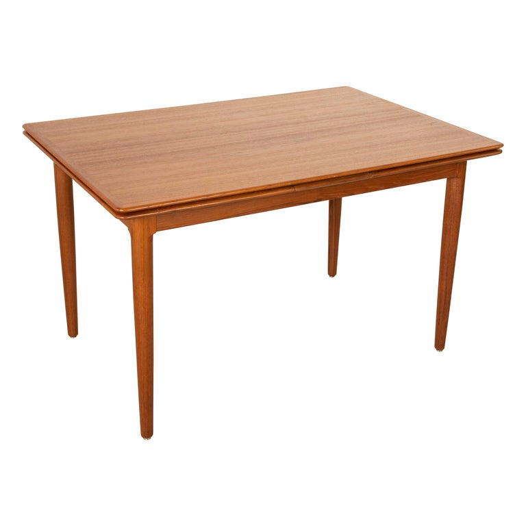 Midcentury Danish Modern Teak Dining Table with Draw Leaves For Sale