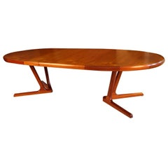 Midcentury Danish Modern Teak Extending Dining Table