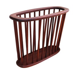 Midcentury Danish Modern Teak Floor Magazine Rack Stand Holder
