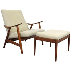 Midcentury Danish Modern Teak Lounge Chair and Ottoman