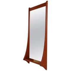 Midcentury Danish Modern Teak Wall Mirror & Shelf by Jansen Spejle