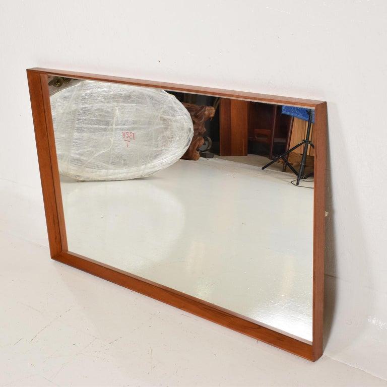 Scandinavian Modern Midcentury Danish Modern Teak Wall Mirror Wegner Era For Sale