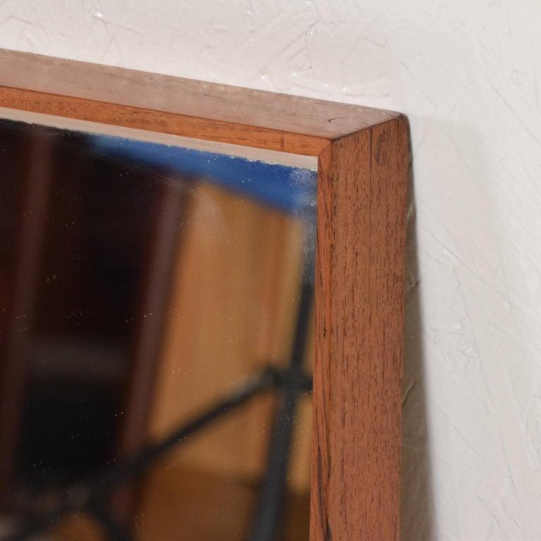 Midcentury Danish Modern Teak Wall Mirror Wegner Era In Good Condition For Sale In National City, CA