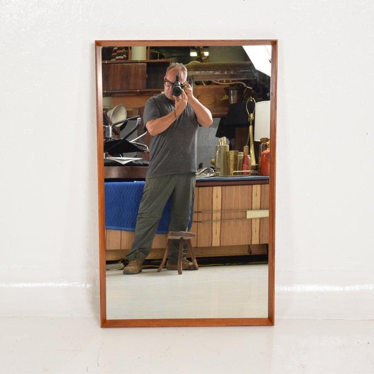 Midcentury Danish Modern Teak Wall Mirror Wegner Era For Sale 1