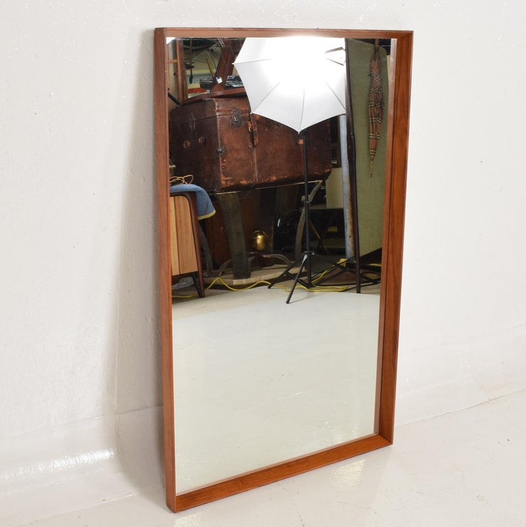 Midcentury Danish Modern Teak Wall Mirror Wegner Era For Sale 2