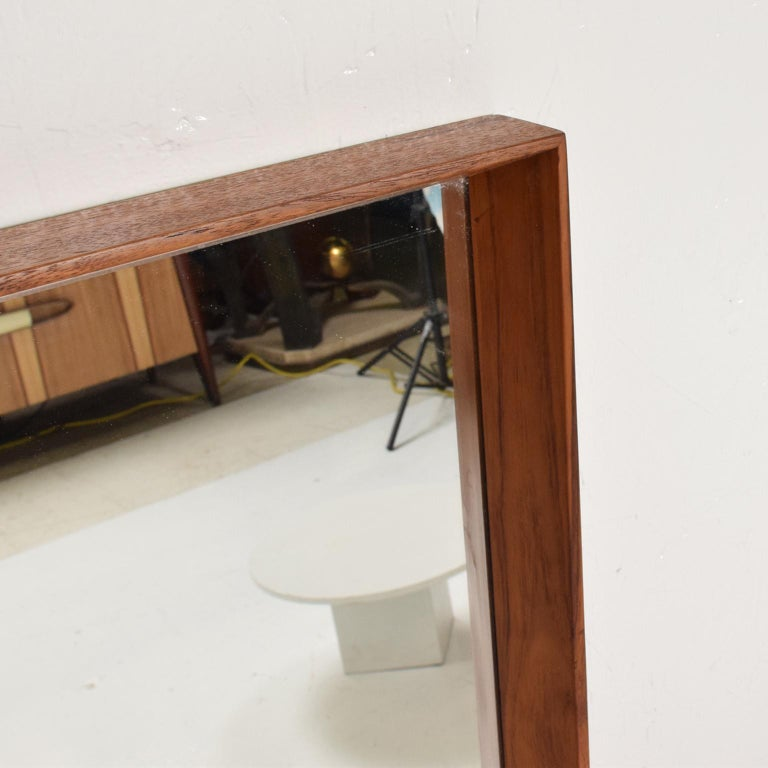 Midcentury Danish Modern Teak Wall Mirror Wegner Era For Sale 3